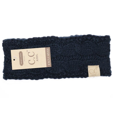 CC Beanie Kids Solid Cable Knit Head Wrap Navy