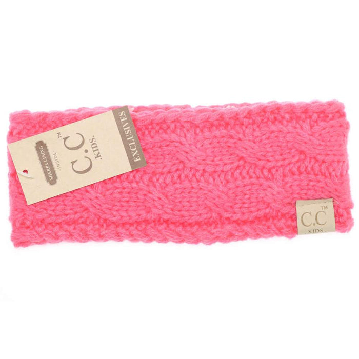 CC Beanie Kids Solid Cable Knit Head Wrap Hot Pink