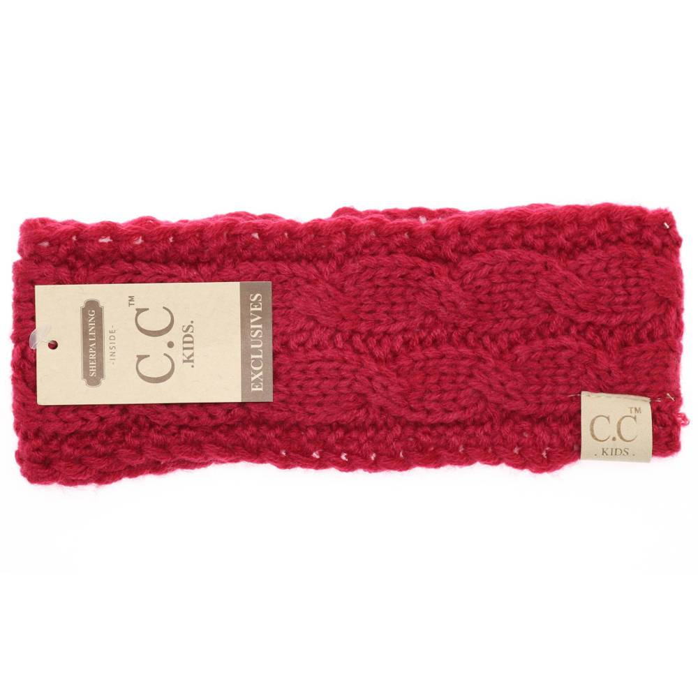 CC Beanie Kids Solid Cable Knit Head Wrap Red