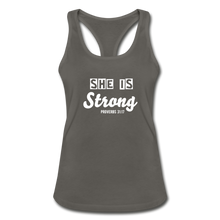 She is Strong Racerback Top - charcoal