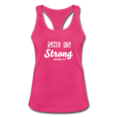 She is Strong Racerback Top - hot pink