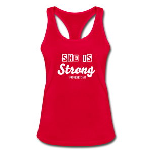 She is Strong Racerback Top - red