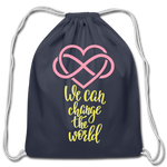 Load image into Gallery viewer, Change the World Cotton Drawstring Bag - navy