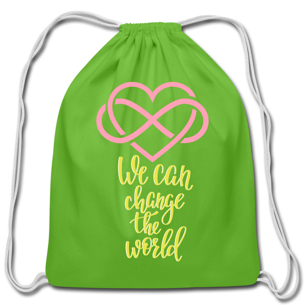 Change the World Cotton Drawstring Bag - clover