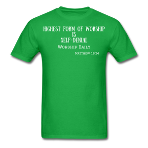 Highest Form of Worship Unisex T-Shirt - bright green