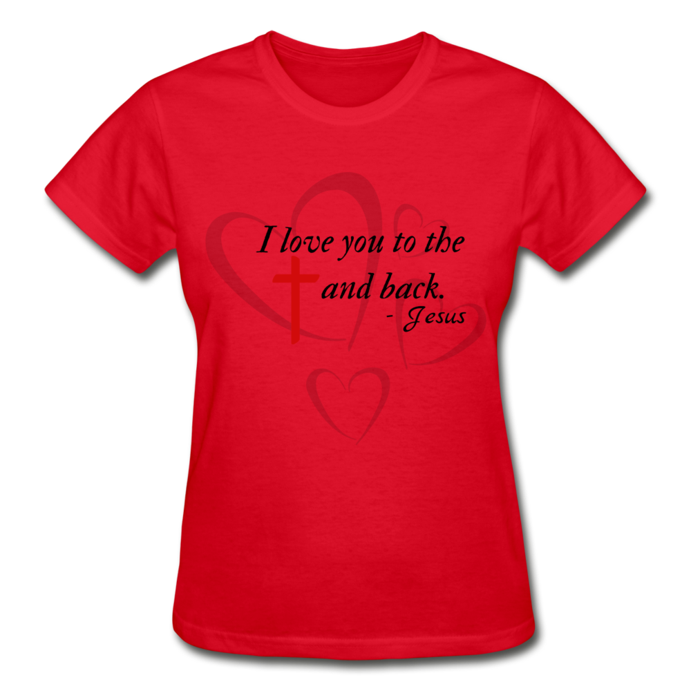 To the Cross and Back Ladies T-Shirt - red