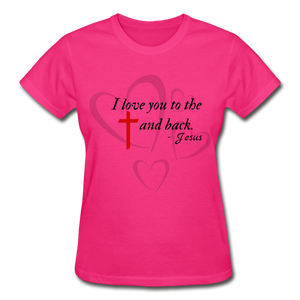To the Cross and Back Ladies T-Shirt - fuchsia