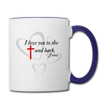Load image into Gallery viewer, Cross and Back Coffee Mug - white/cobalt blue