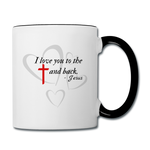 Load image into Gallery viewer, Cross and Back Coffee Mug - white/black