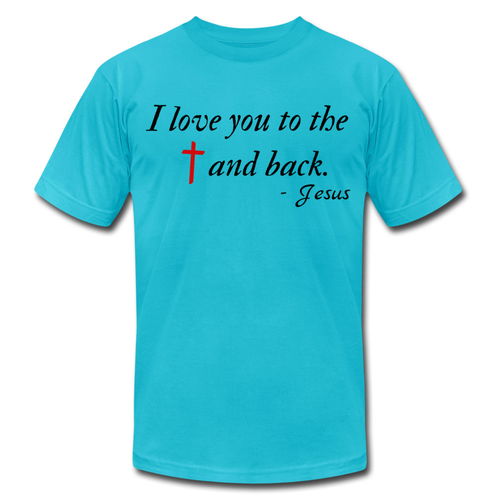 To the Cross & Back Unisex T-shirt - turquoise