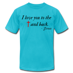 Load image into Gallery viewer, To the Cross & Back Unisex T-shirt - turquoise