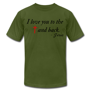 To the Cross & Back Unisex T-shirt - olive