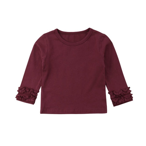 Long Sleeve Ruffle Top - Wine