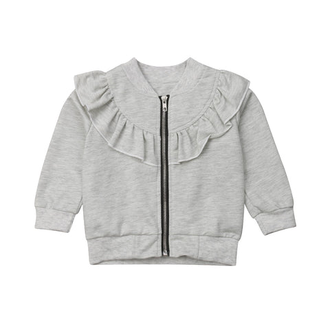 Ruffle Zip Jacket - Grey