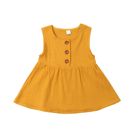 Harlow Button Dress - Mustard