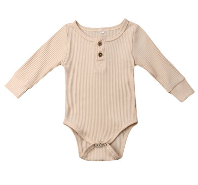 Basic Button Romper - Sand