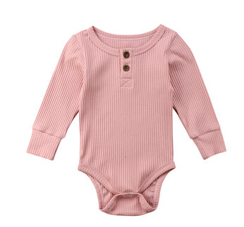 Basic Button Romper - Dusty Pink