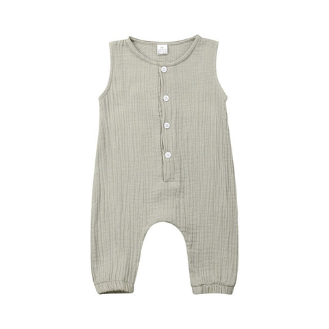 Rosemary Button Romper - Grey