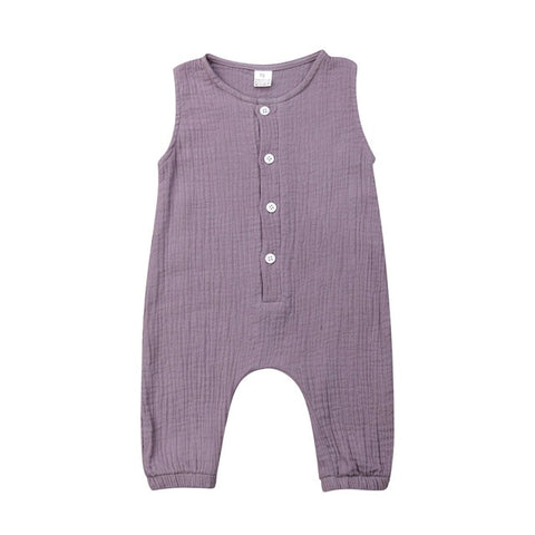 Rosemary Button Romper - Lavender