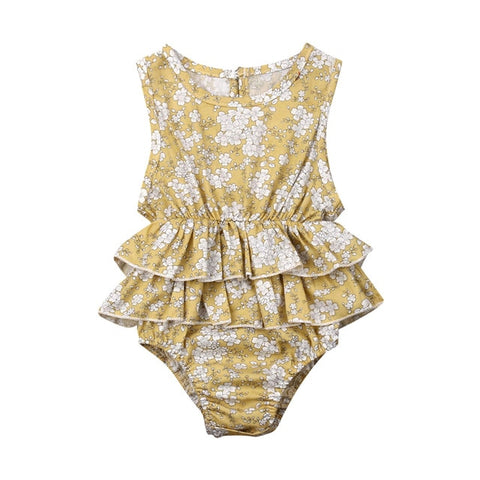 Ryleigh Romper - Light Mustard Floral