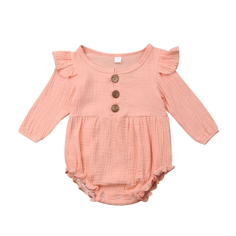 Harlow Button Romper - Pink