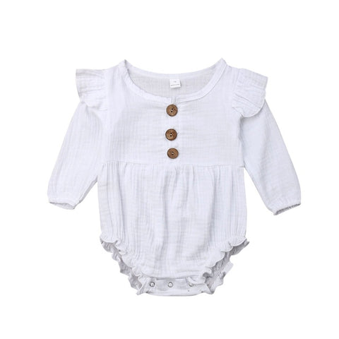 Harlow Button Romper - White