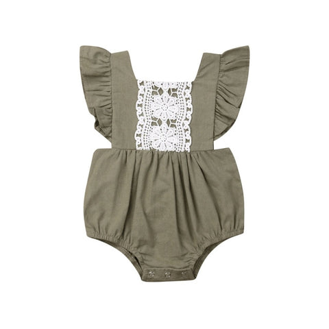 Paisley Lace Romper - Olive