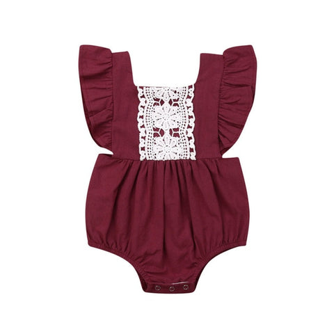 Paisley Lace Romper - Wine