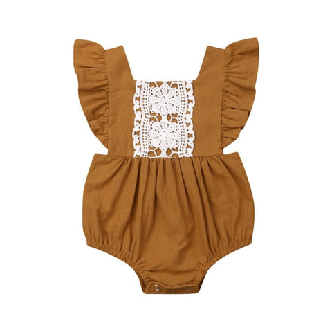 Paisley Lace Romper - Mustard