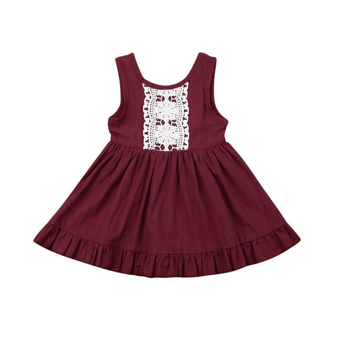 Paisley Lace Dress - Wine