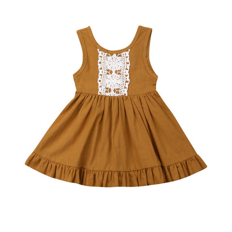 Paisley Lace Dress - Mustard
