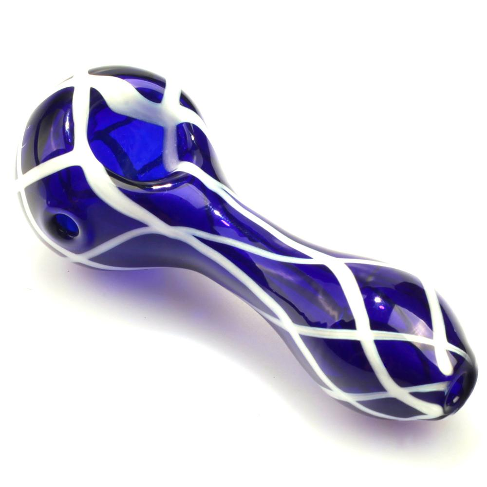 Handmade Blue Glass Pipe with White Stripes