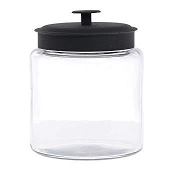 Anchor Hocking Montana Glass Jar With Black Lid