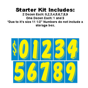 "11.5"" Blue and Yellow Adhesive Windshield Numbers Kit"