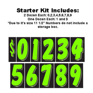 "11.5"" Black and Green Adhesive Windshield Numbers Kit"