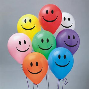 Assorted Color Happy Face Balloons