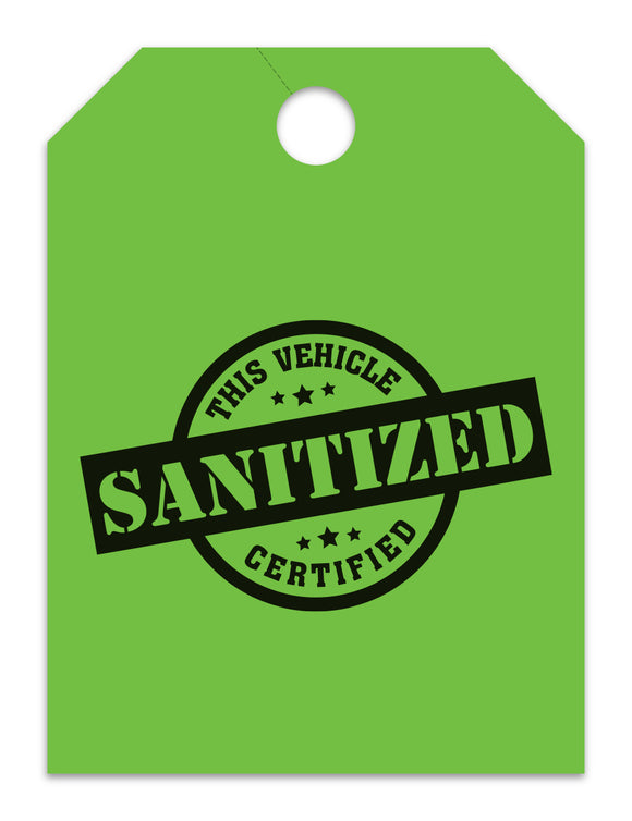 Sanitized Hang Tags - Green (100 pack)