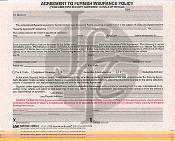 Agreement to Furnish Insurance
