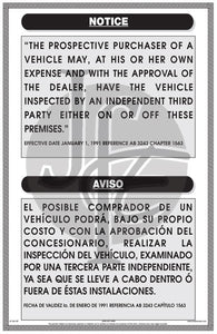 Notice for Third Party Inspection Sign - Bilingual