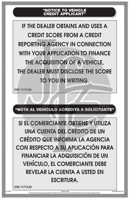 Notice to Vehicle Credit Applicant - Bilingual