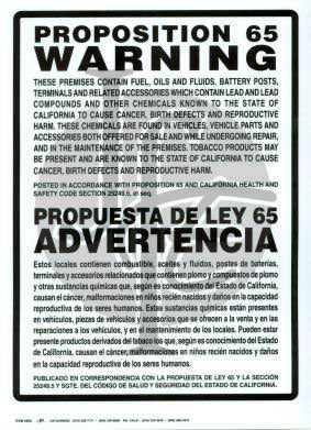 Prop 65 Cancer Disclosure Sign - Bilingual
