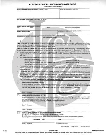 Contract Cancellation Option Agreement Contract