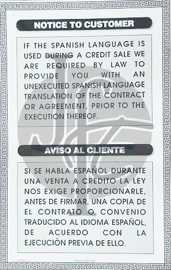 Notice to Translate Contract - Bilingual