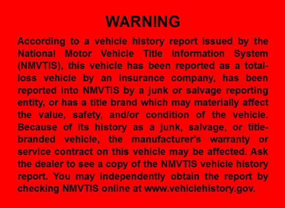 California Salvage Title Law Sticker