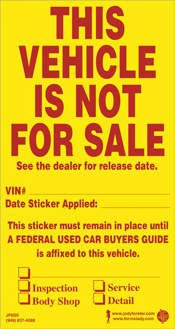 Vehicle Not For Sale Decal