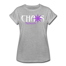 Chaos Nutrition - Premium Women's S/S Tee With Purple & White Logo - heather gray
