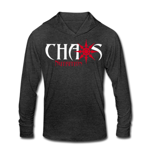 Chaos Fit Wear - Premium Unisex Tri-Blend Hoodie Shirt With Red & White Logo - heather black
