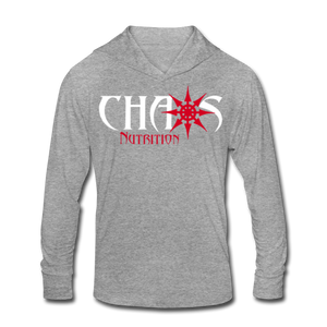 Chaos Fit Wear - Premium Unisex Tri-Blend Hoodie Shirt With Red & White Logo - heather gray