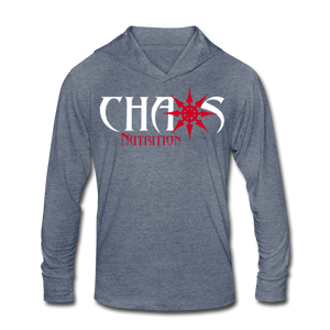 Chaos Fit Wear - Premium Unisex Tri-Blend Hoodie Shirt With Red & White Logo - heather blue