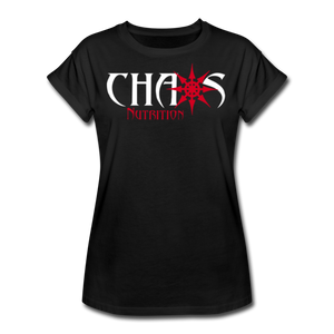 Chaos Fit-Wear - Premium Women's S/S Tee With Red & White Logo - black